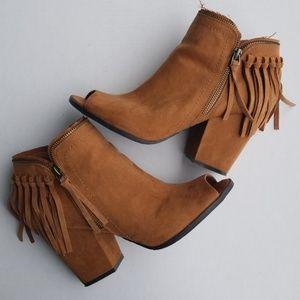 {DV} Dolce Vita Saddle Fringe Zip Heeled Boots